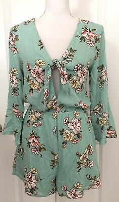 NWT Xhilaration Women's Mint Green Floral Tie Front 3/4 Bell Sleeve Size XS