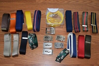 HUGE lot of VANS 6 belt buckles, 17 different web belts, above-the fly belt