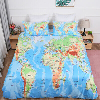 WORLD MAP DUVET Quilt Cover Bedding Set With Pillow Cases Single Double King