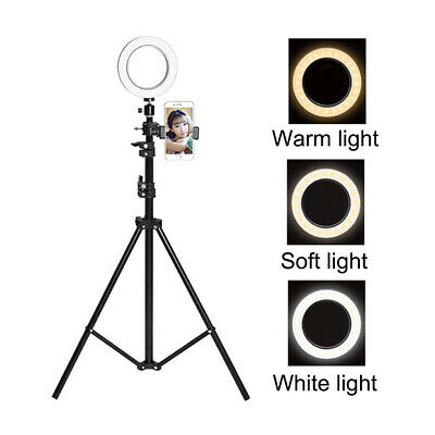 "New 6"" LED Selfie Ring Light with Tripod Stand Smart Phone Holder for Live 160cm"