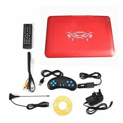 "13.9"" inch HD TV Portable DVD Player 16:9 LCD Screen 270° Swivel 110-240V Red UK"