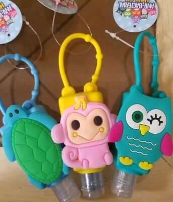 Antibacterial Travel HAND SANITIZER + Silicone Hanger HOLDER Turtle Monkey Owl