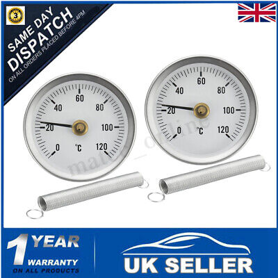 2X 0-120º C Pipe Clip On Dial Thermometer Temperature Temp Gauge & Spring