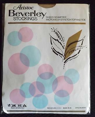 A Pair of Vintage Mesh Seam Free Stockings ARISTOC Beverley 9.5 UK 5-6 Persian