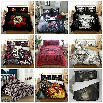 UK Hot Skull Design Duvet Cover with Pillow Cases Gothic Quilt Cover Bedding Set