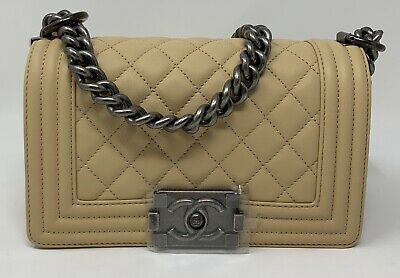 62ac835412d8 New Chanel Le Boy Small Quilted Flap Bag Calfskin Leather & Ruthenium Hw  Beige
