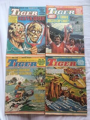 Job Lot of 4 original Tiger Comics - from August 1982 in Good Condition