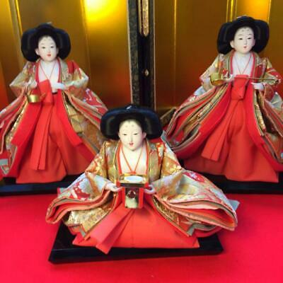 Seated & Standing Royal Asian Oriental Japanese Hina Princess Doll 3 sisters