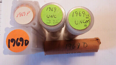 Five Uncirculated rolls of Lincoln Memorial Cents. Three 1969-P, two 1969-D