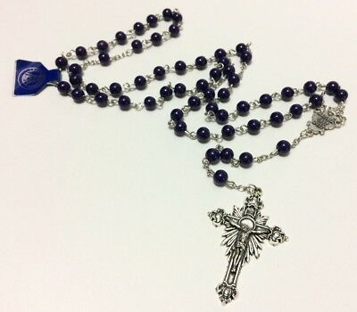 Fatima Blessed Virgin Mary 1917-2017 Dark Blue/Purple Beads Rosary NWT