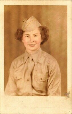 Woman Army Soldier Uniform Tinted Real Photo Postcard