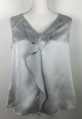 Anne Klein Large L Sleeveless Blouse Top Career Silver Gray Ruffle Career Womens
