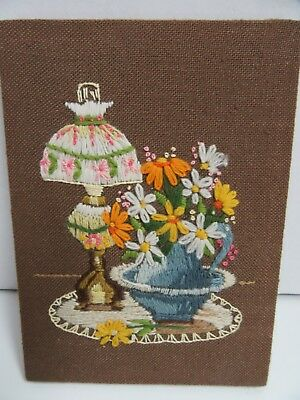 Finished Jiffy Crewel Embroidery Oil Lamp Bouquet Completed 6x8