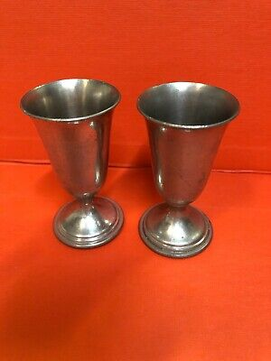 2 Paul Revere Pewter Cordial Set Mini Goblet Shot Glass Shooter Barware VTG