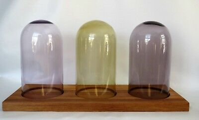 """Rare 3 Glass Cloche Bell Jar Domes Display 7"""" High on Wood Base 16"""" Long"""