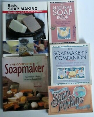 LOT of 5 Excellent Soap Making Books ~ Natural, Herbal, Luxurious, Comprehensive
