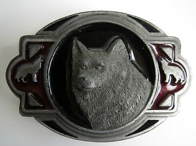 Vintage Dog Coyote Wolf Howling Belt Buckle CJ 1996 #1626 Made in USA Dark Red
