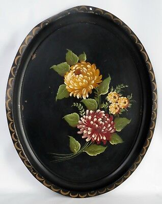 Vintage Hand Painted Oval Metal Tray Mums Peonies ~ Brick Red, Honey Yellow