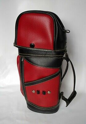 Vintage Red Black Leather Miniature Golf Bag Wine Whiskey Liquor Bottle Holder
