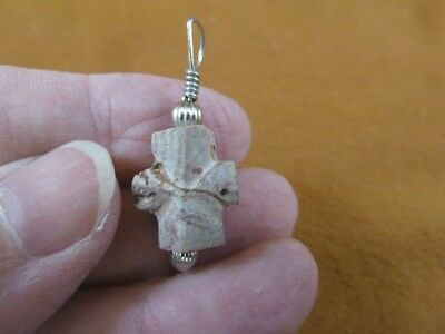 "CR505-122) 5/8"" Fairy Stone Pendant CHRISTIAN religious CROSS Staurolite Crystal"