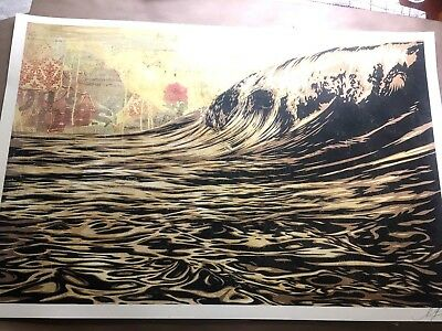 🔥 SIGNED! Shepard Fairey DARK WAVE Original Art Print Poster Obey Giant 24x36