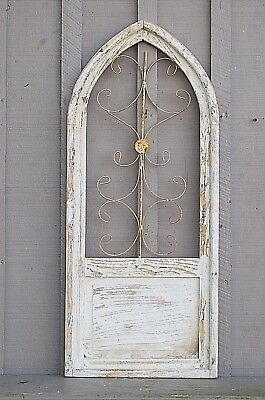 Wooden Antique Style Church Window Arched Wrought Iron Primitive Rustic Gothic b