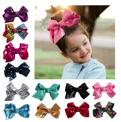 11 Designs of Girls Baby Kids Shiny Double-Sided Sequins Big Hair Bow Headclips