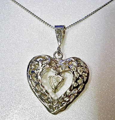 "Edwardian Floating Zircon Heart Marked ""925 SU"" on Chain Marked ""ITALY 925 SU"""