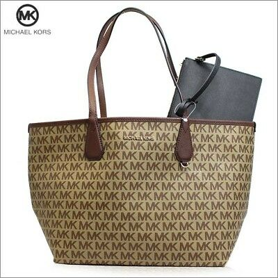 25cb9c918105ff Michael Kors Candy Large Reversible Tote with Detachable Pouch - Beige /  Black
