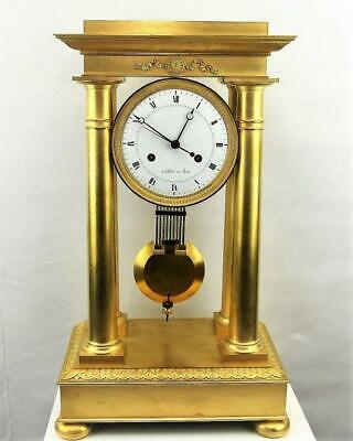 Antique column mantel clock French Empire portico regulator mantle ormolu gilt