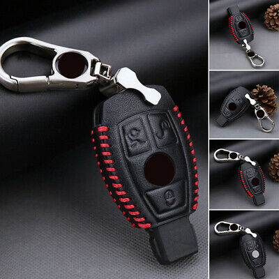 For Mercedes Benz Cover 2/3-Button Leather Car Key Chain Accessory Practical