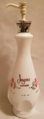 Vintage Jergens Lotion White Milk Glass Bottle pink flowers