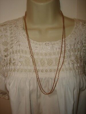 """Vintage 55"""" Length 14k Solid Rose Gold Rolo Chain Necklace Heavy 16.5 gram"""