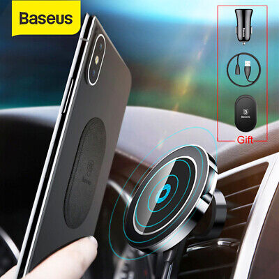 Baseus Qi Wireless Car Charger Magnetic Mount Holder for Samsung S10 iPhone XS X