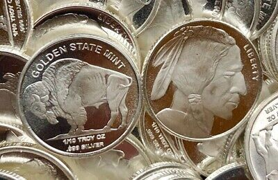 Golden State Mint GSM 1/10 oz .999 Fine Silver Round - Indian Head Buffalo Bison
