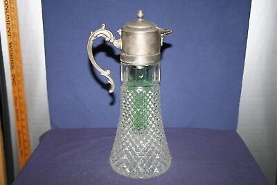 Tall Diamond Point Glass and Silverplate Wine Water Decanter with Ice Insert