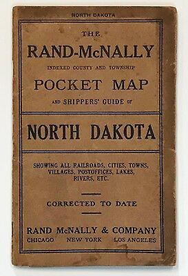 THE RAND-McNALLY INDEXED COUNTY AND TOWNSHIP POCKET MAP OF NORTH DAKOTA. (1912).