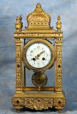 Ornate French Crystal Regulator Clock with Rhinestones 19th Century Japy Freres