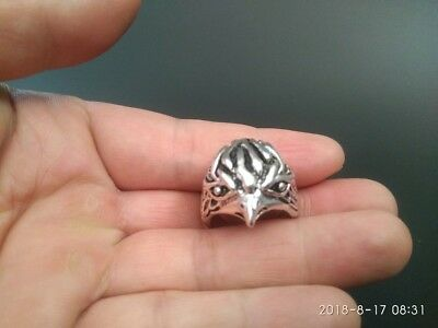 19# China old Tibetan silver hand made Chinese Zodiac tiger statue finger ring