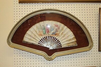 Incredible Framed Antique Mother Of Pearl Victorian Era Fan Asian Chinese?