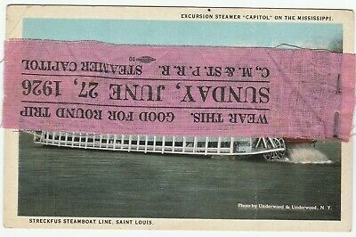 RARE Ribbon Pass & Postcard - 1926 Mississippi Steamer ship CAPITOL CM&StP RR
