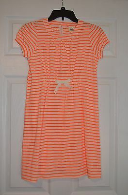 Mini Boden girls 9 - 10 Y Bright Orange / White Stripe Tunic Dress - NEW NWOT