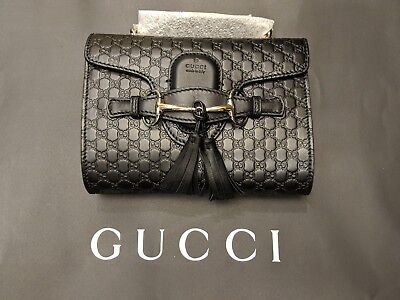 afb17085fa55e NEW Gucci 449636 Black Micro GG Guccissima Leather MINI Emily Crossbody  Purse