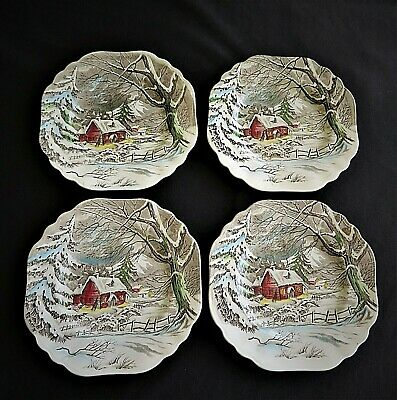 FOUR (4) Square  Luncheon Plates J&G Meakin WELCOME HOME Wall Decor Display