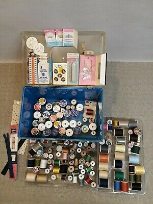 Lot of spools and thread , various brands , sizes and accessory w/Case