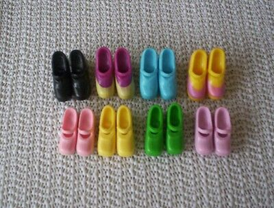 Barbie Generation Girl Mary Jane Doll Shoes 8 Pairs Black Pink Yellow Green Blue