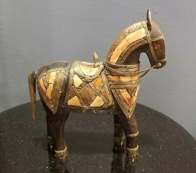 "Vintage Horse Wooden Porcelain Chain 8"" Tall"