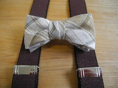 b9094c7ade9c New Infant Boys Tan/Brown Plaid Bow Tie/Brown Suspender Set/Usa Made