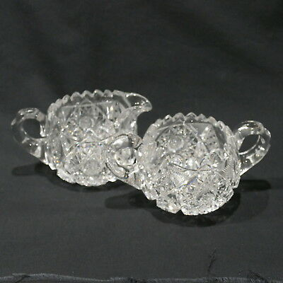 Antique American Brilliant Period Crystal Cut Glass Creamer & Sugar Bowl ~ Heavy