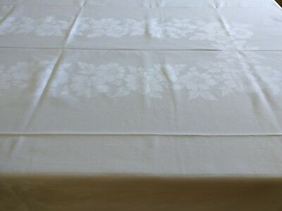 Vintage Tablecloth Northern Ireland Robust Cotton Damask 137 x 229cm Starched